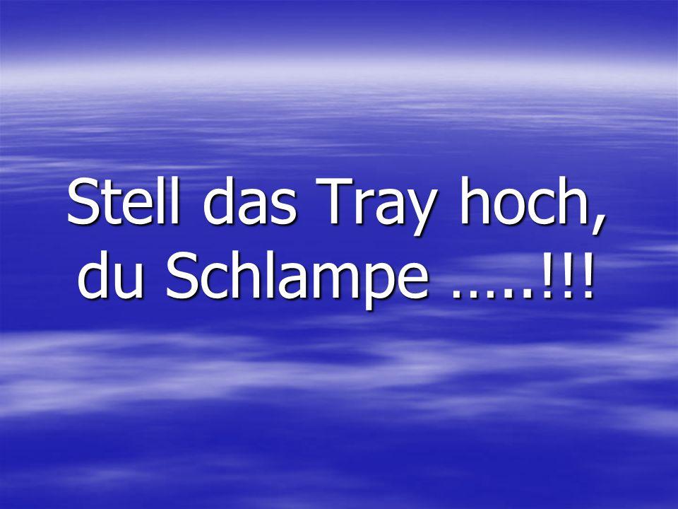 Stell das Tray hoch, du Schlampe …..!!!