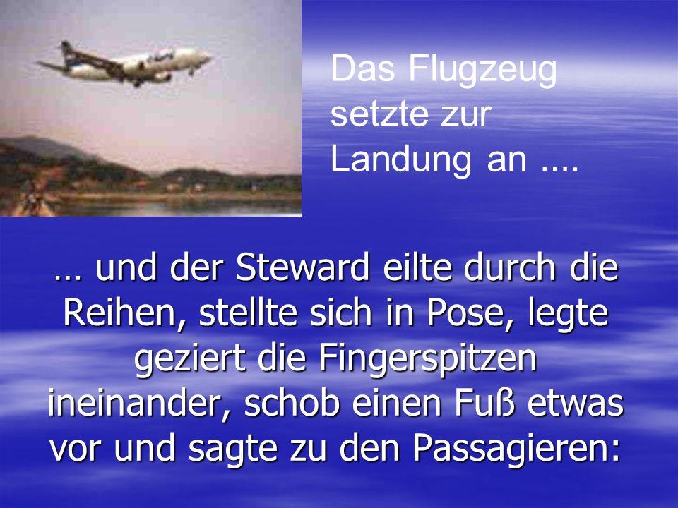 … und der Steward eilte durch die Reihen, stellte sich in Pose, legte geziert die Fingerspitzen ineinander, schob einen Fuß etwas vor und sagte zu den Passagieren: Das Flugzeug setzte zur Landung an ….