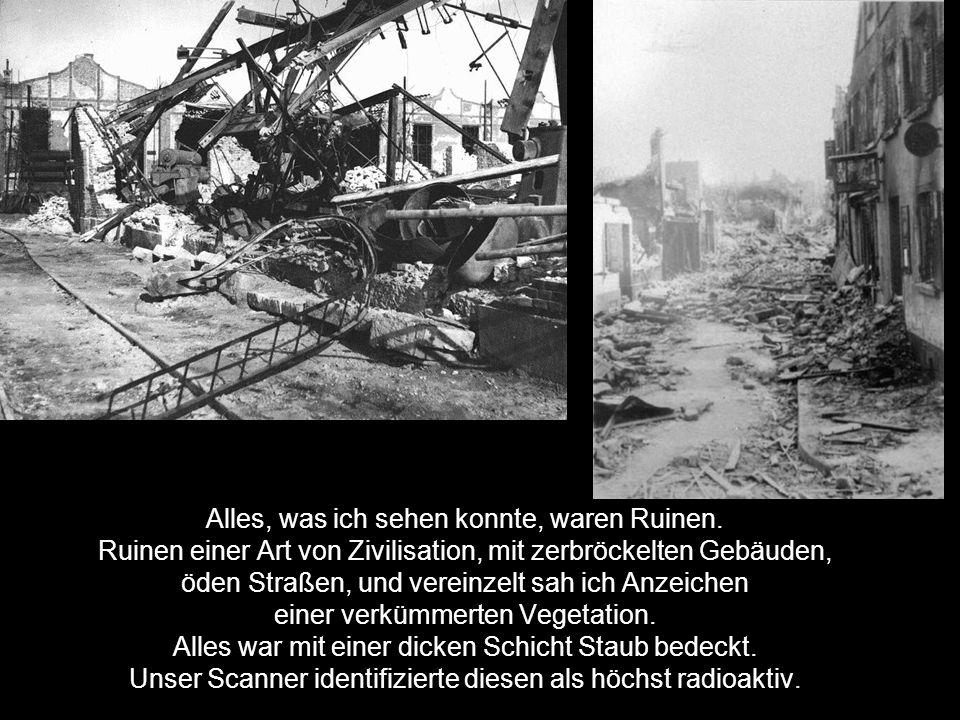 Alles, was ich sehen konnte, waren Ruinen. Ruinen einer Art von Zivilisation, mit zerbröckelten Gebäuden, öden Straßen, und vereinzelt sah ich Anzeich