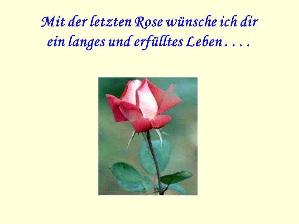 Mit der letzten Rose wünsche ich dir ein langes und erfülltes Leben....