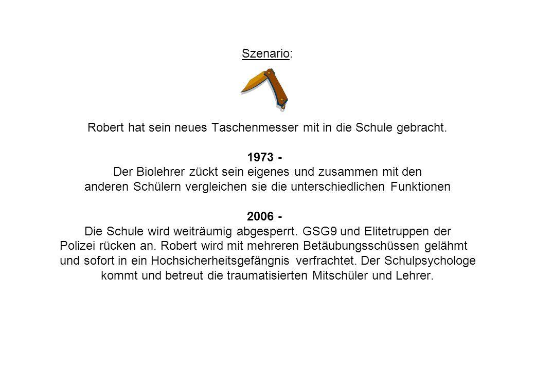 Szenario: Robert hat sein neues Taschenmesser mit in die Schule gebracht. 1973 - Der Biolehrer zückt sein eigenes und zusammen mit den anderen Schüler
