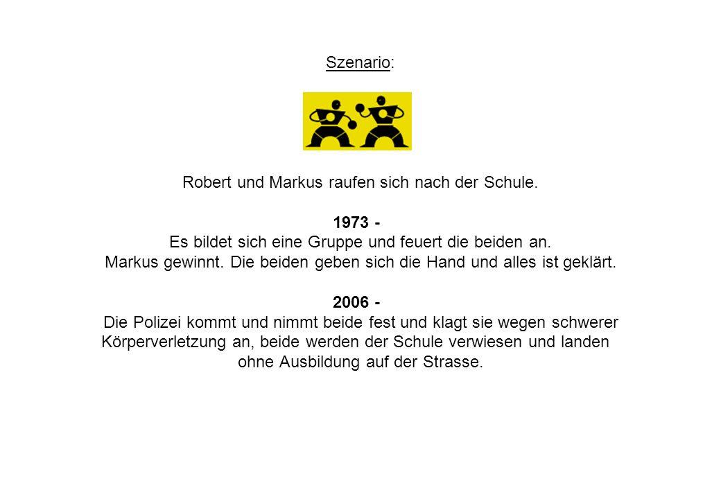 Szenario: Robert und Markus raufen sich nach der Schule. 1973 - Es bildet sich eine Gruppe und feuert die beiden an. Markus gewinnt. Die beiden geben