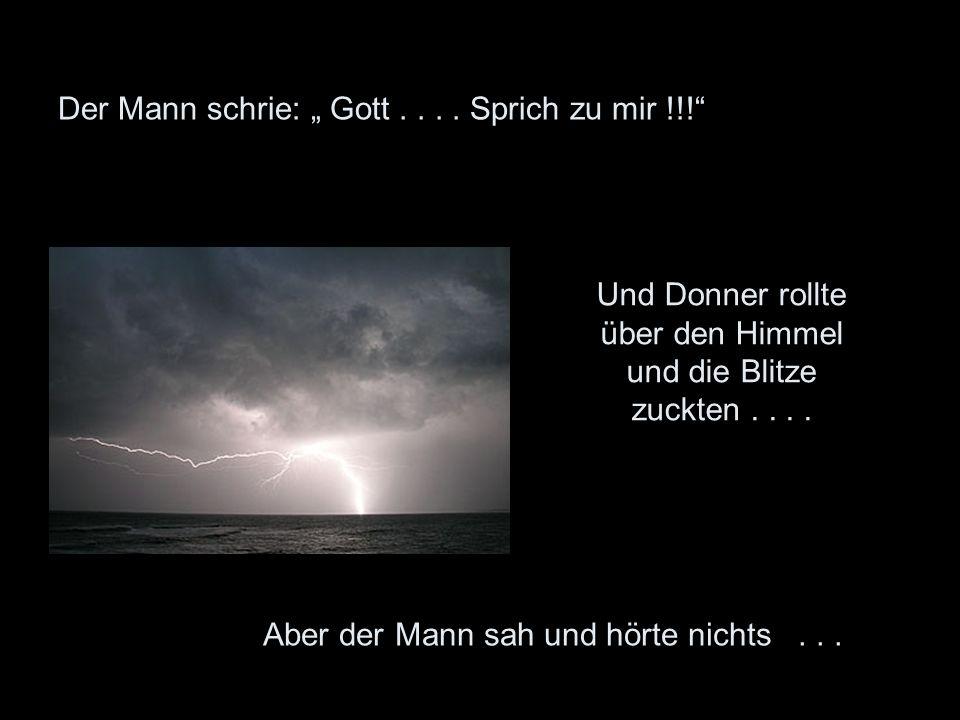Der Mann schrie: Gott.... Sprich zu mir !!! Und Donner rollte über den Himmel und die Blitze zuckten.... Aber der Mann sah und hörte nichts...