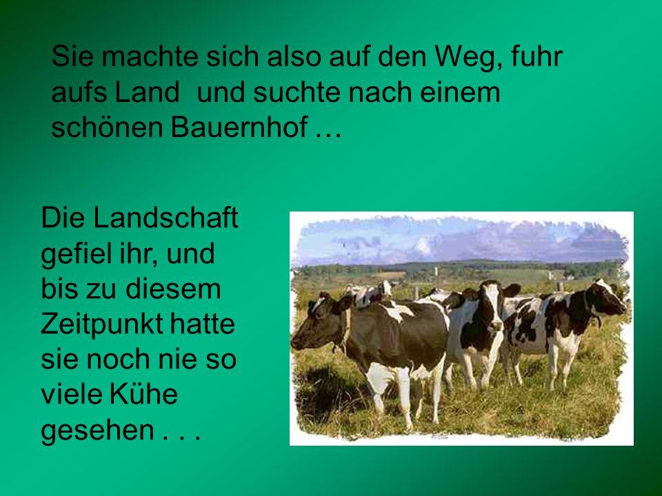 Sie machte sich also auf den Weg, fuhr aufs Land und suchte nach einem schönen Bauernhof … Die Landschaft gefiel ihr, und bis zu diesem Zeitpunkt hatt