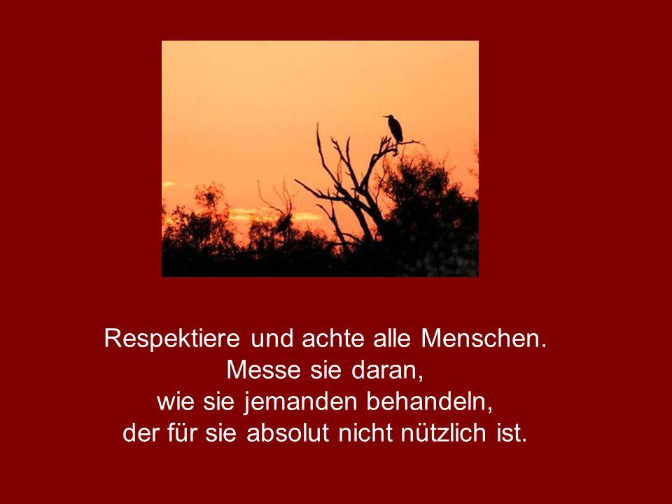 Respektiere und achte alle Menschen. Messe sie daran, wie sie jemanden behandeln, der für sie absolut nicht nützlich ist.