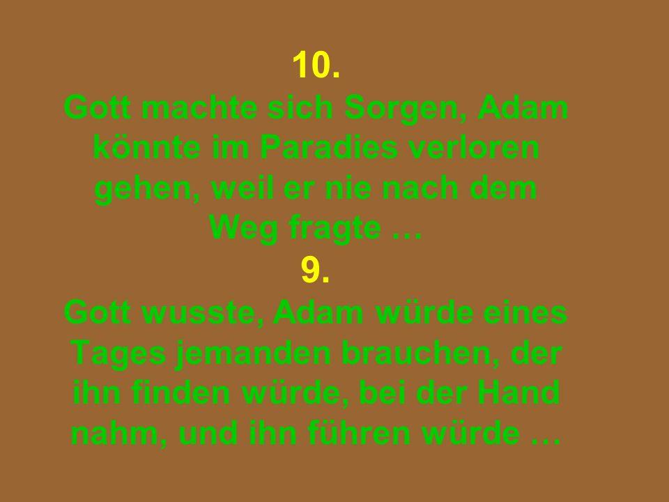 10. Gott machte sich Sorgen, Adam könnte im Paradies verloren gehen, weil er nie nach dem Weg fragte … 9. Gott wusste, Adam würde eines Tages jemanden
