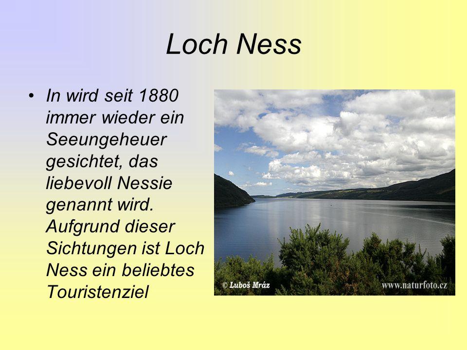 Loch Ness In wird seit 1880 immer wieder ein Seeungeheuer gesichtet, das liebevoll Nessie genannt wird.