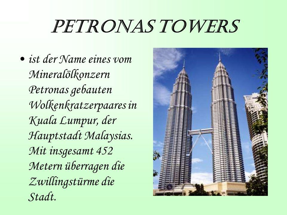 Petronas Towers ist der Name eines vom Mineralölkonzern Petronas gebauten Wolkenkratzerpaares in Kuala Lumpur, der Hauptstadt Malaysias.