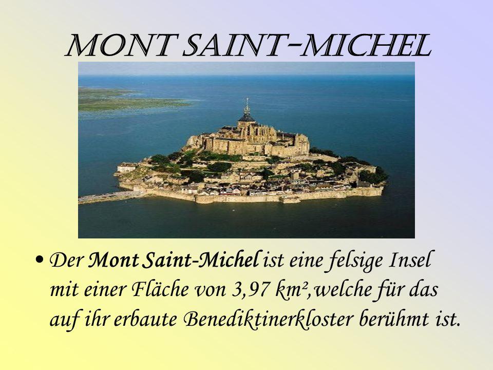 Mont Saint-Michel Der Mont Saint-Michel ist eine felsige Insel mit einer Fläche von 3,97 km²,welche für das auf ihr erbaute Benediktinerkloster berühmt ist.