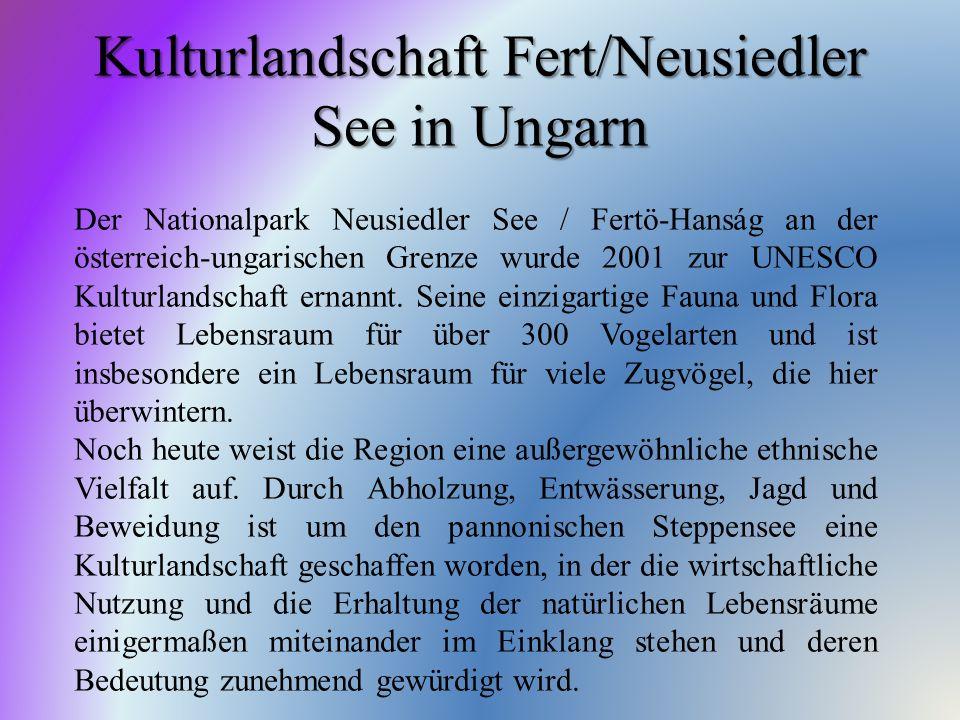 Kulturlandschaft Fert/Neusiedler See in Ungarn Der Nationalpark Neusiedler See / Fertö-Hanság an der österreich-ungarischen Grenze wurde 2001 zur UNES