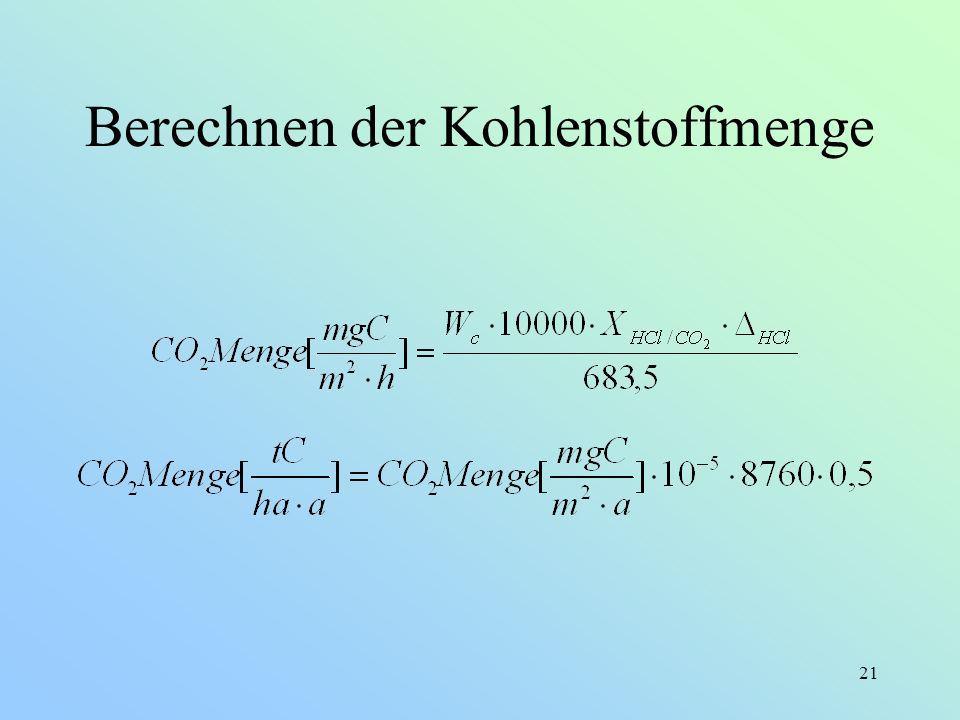 21 Berechnen der Kohlenstoffmenge