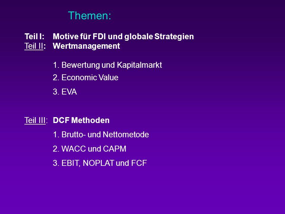 Themen: Teil I: Motive für FDI und globale Strategien Teil II: Wertmanagement 1. Bewertung und Kapitalmarkt 2. Economic Value 3. EVA Teil III: DCF Met