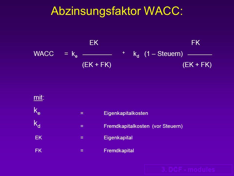 3. DCF - modules Abzinsungsfaktor WACC: EK FK WACC = k e ____________ + k d (1 – Steuern) __________ (EK + FK) (EK + FK) mit: k e= Eigenkapitalkosten