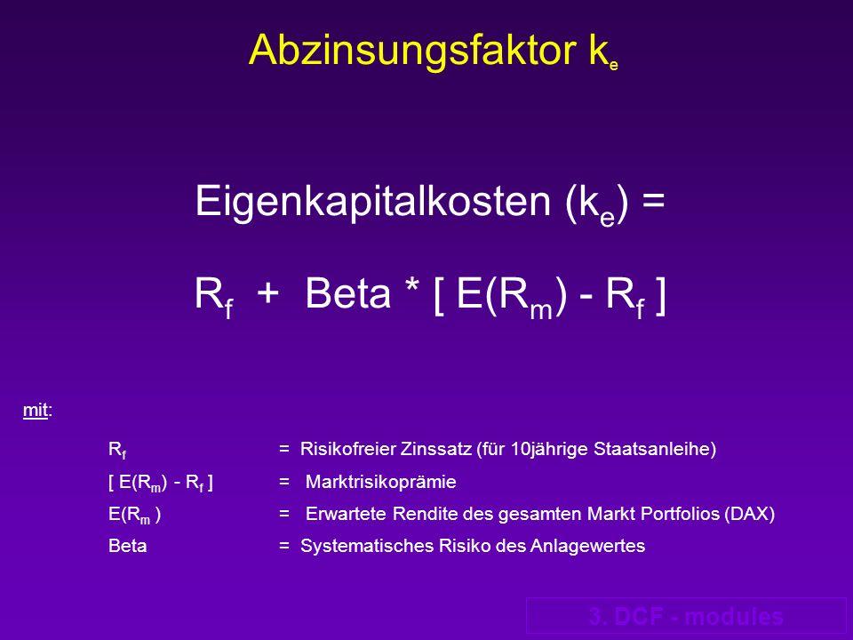 3. DCF - modules Abzinsungsfaktor k e Eigenkapitalkosten (k e ) = R f + Beta * [ E(R m ) - R f ] mit: R f = Risikofreier Zinssatz (für 10jährige Staat