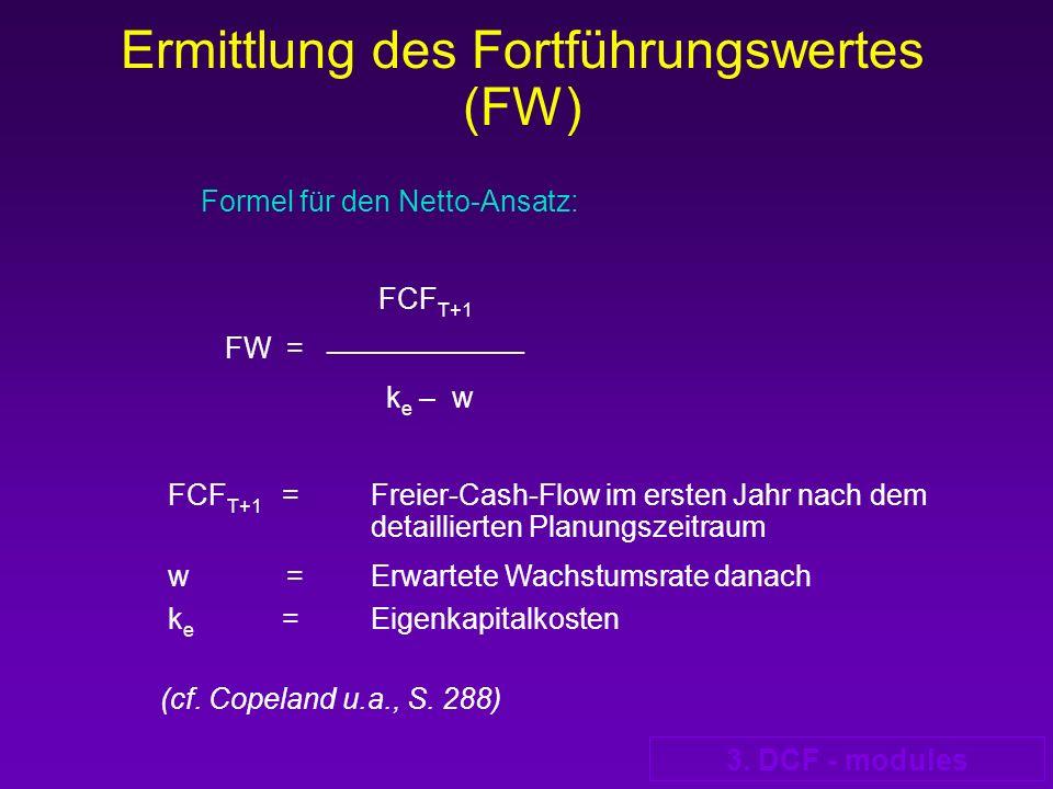 3. DCF - modules Formel für den Netto-Ansatz: FCF T+1 FW = __________________ k e – w FCF T+1 = Freier-Cash-Flow im ersten Jahr nach dem detaillierten