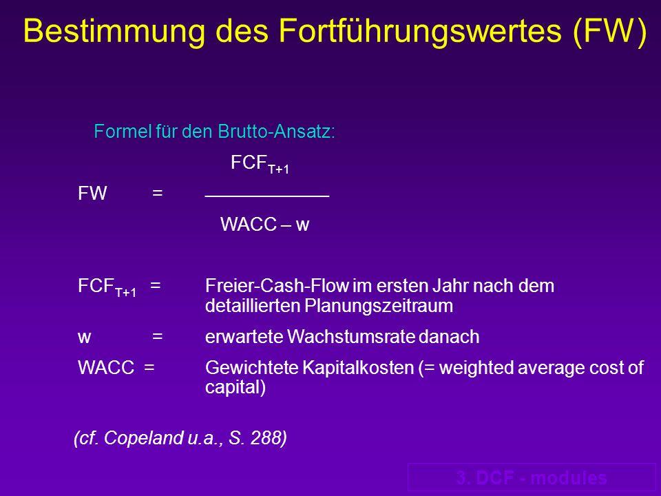 3. DCF - modules Bestimmung des Fortführungswertes (FW) Formel für den Brutto-Ansatz: FCF T+1 FW = __________________ WACC – w FCF T+1 = Freier-Cash-F