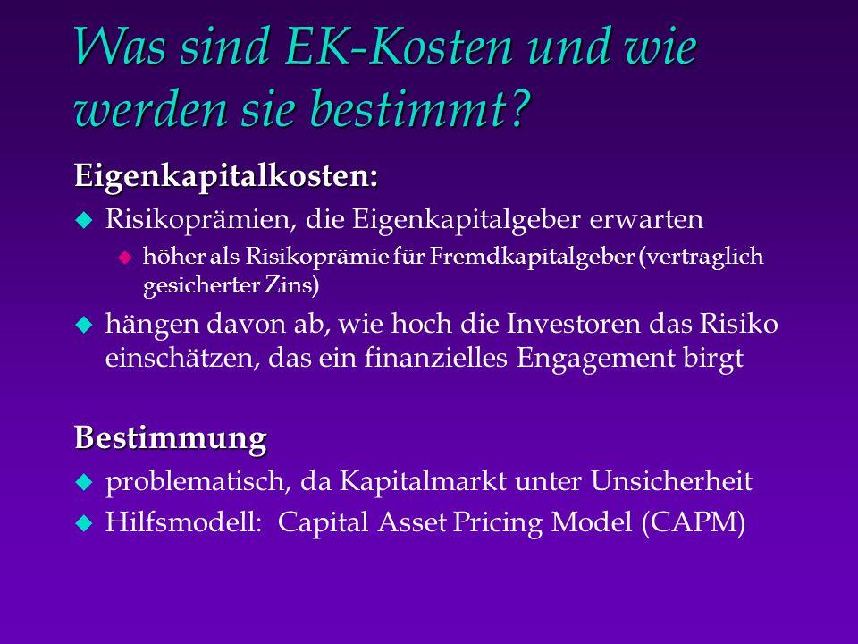 Was sind EK-Kosten und wie werden sie bestimmt? Eigenkapitalkosten: u Risikoprämien, die Eigenkapitalgeber erwarten u höher als Risikoprämie für Fremd