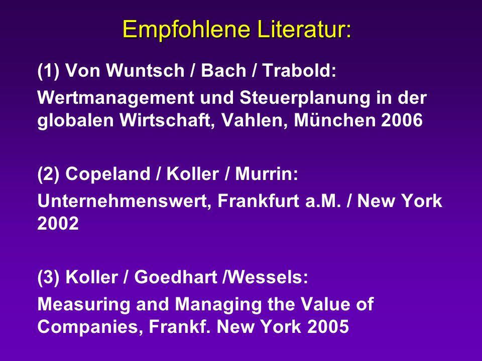 Empfohlene Literatur: (1) Von Wuntsch / Bach / Trabold: Wertmanagement und Steuerplanung in der globalen Wirtschaft, Vahlen, München 2006 (2) Copeland