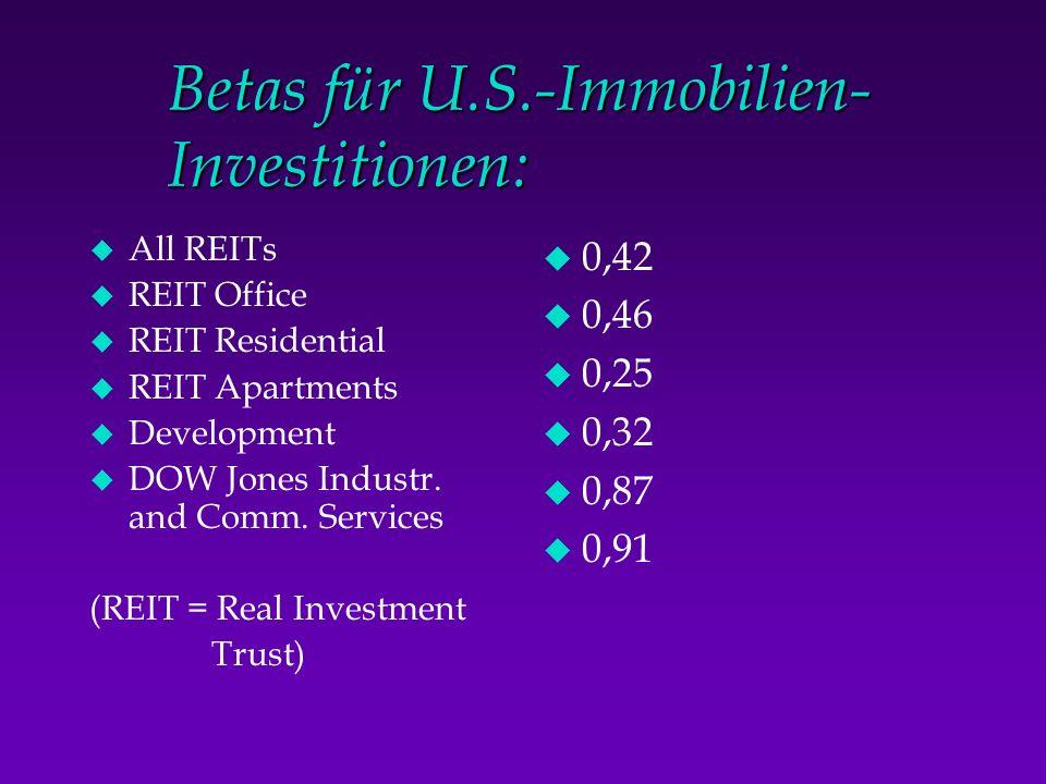Betas für U.S.-Immobilien- Investitionen: u All REITs u REIT Office u REIT Residential u REIT Apartments u Development u DOW Jones Industr. and Comm.