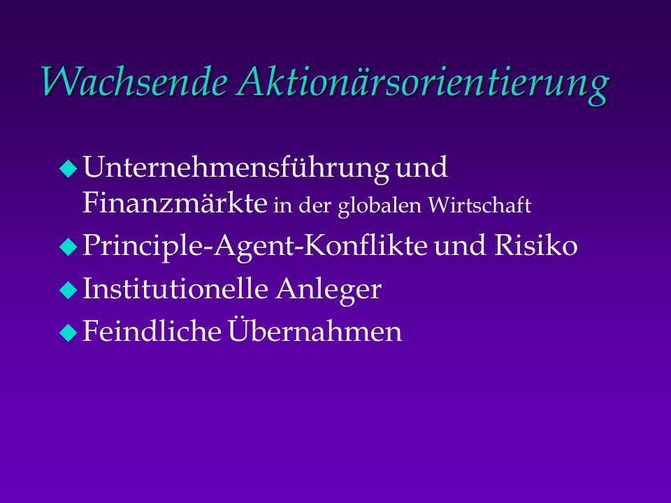Wachsende Aktionärsorientierung u Unternehmensführung und Finanzmärkte in der globalen Wirtschaft u Principle-Agent-Konflikte und Risiko u Institution