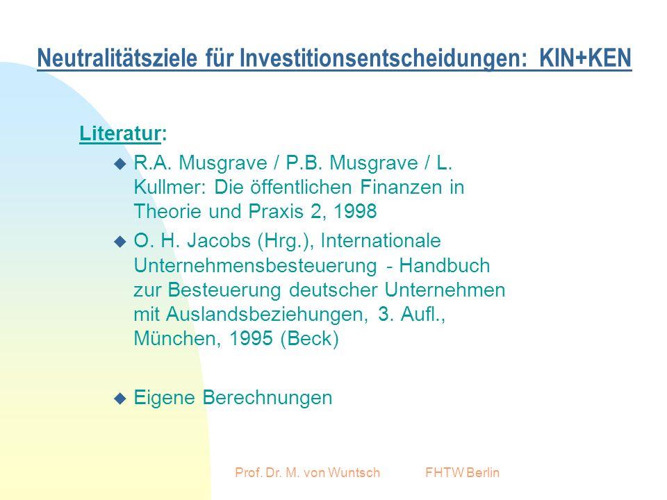 Prof. Dr. M. von Wuntsch FHTW Berlin Neutralitätsziele für Investitionsentscheidungen: KIN+KEN Literatur: u R.A. Musgrave / P.B. Musgrave / L. Kullmer