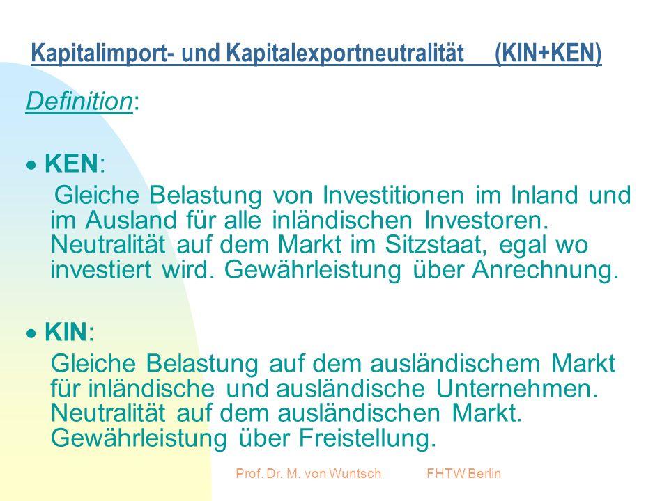 Prof. Dr. M. von Wuntsch FHTW Berlin Kapitalimport- und Kapitalexportneutralität (KIN+KEN) Definition: KEN: Gleiche Belastung von Investitionen im Inl