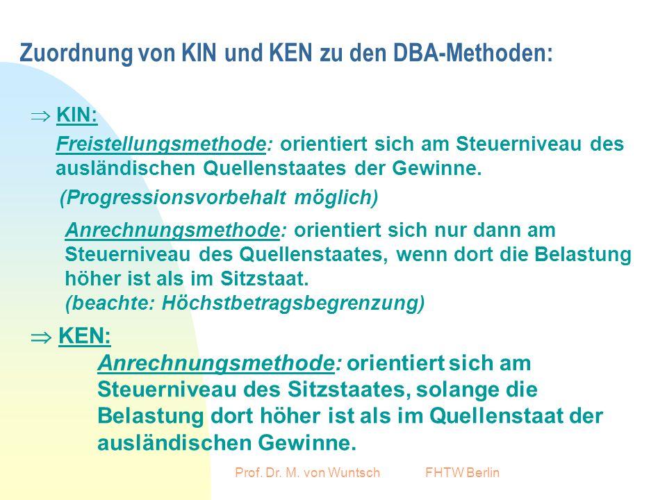 Prof. Dr. M. von Wuntsch FHTW Berlin Zuordnung von KIN und KEN zu den DBA-Methoden: KIN: Freistellungsmethode: orientiert sich am Steuerniveau des aus