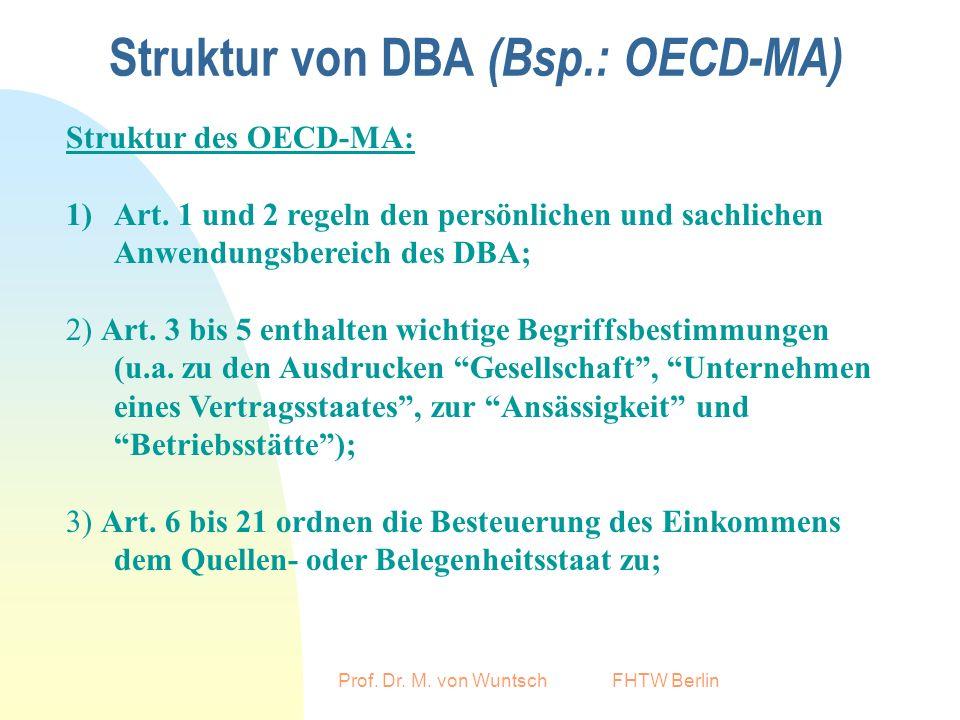 Prof.Dr. M. von Wuntsch FHTW Berlin Struktur von DBA (Bsp.: OECD-MA) 4) Art.