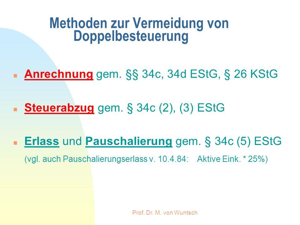 Prof. Dr. M. von Wuntsch Methoden zur Vermeidung von Doppelbesteuerung n Anrechnung gem. §§ 34c, 34d EStG, § 26 KStG n Steuerabzug gem. § 34c (2), (3)