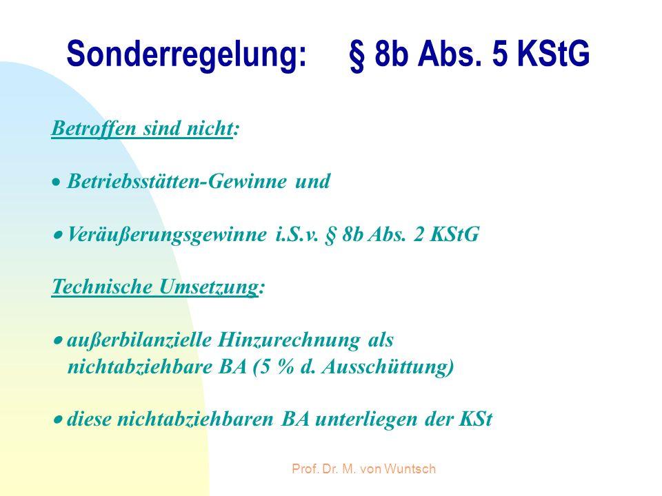 Prof. Dr. M. von Wuntsch Sonderregelung: § 8b Abs. 5 KStG Betroffen sind nicht: Betriebsstätten-Gewinne und Veräußerungsgewinne i.S.v. § 8b Abs. 2 KSt