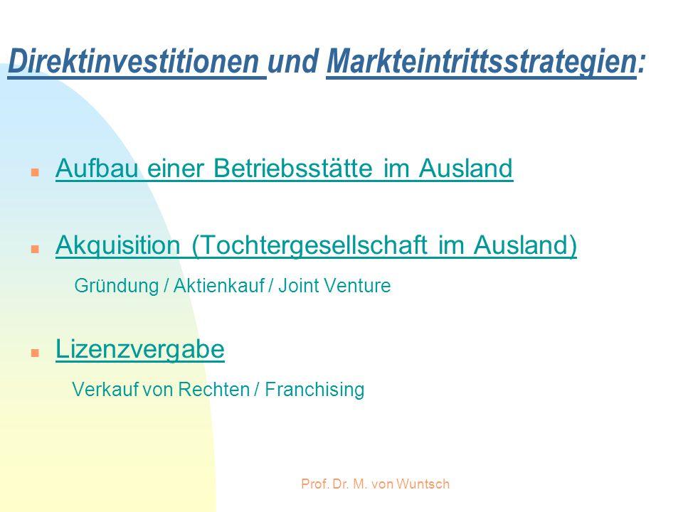 Prof. Dr. M. von Wuntsch Direktinvestitionen und Markteintrittsstrategien: n Aufbau einer Betriebsstätte im Ausland n Akquisition (Tochtergesellschaft