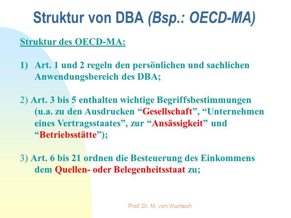 Prof. Dr. M. von Wuntsch Struktur von DBA (Bsp.: OECD-MA) Struktur des OECD-MA: 1)Art. 1 und 2 regeln den persönlichen und sachlichen Anwendungsbereic