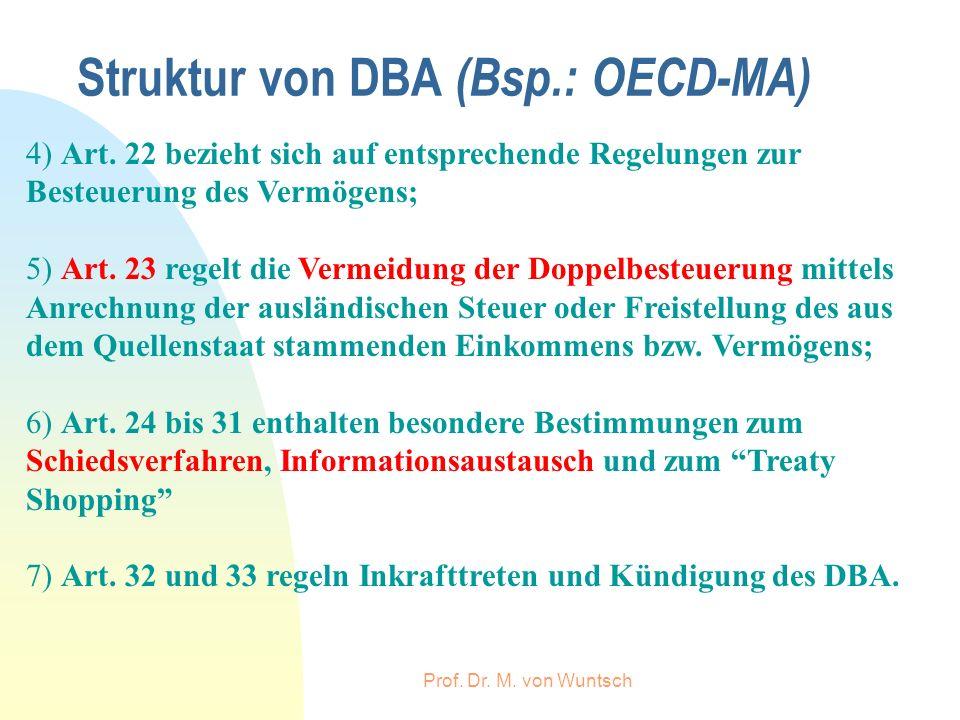 Prof. Dr. M. von Wuntsch Struktur von DBA (Bsp.: OECD-MA) 4) Art. 22 bezieht sich auf entsprechende Regelungen zur Besteuerung des Vermögens; 5) Art.