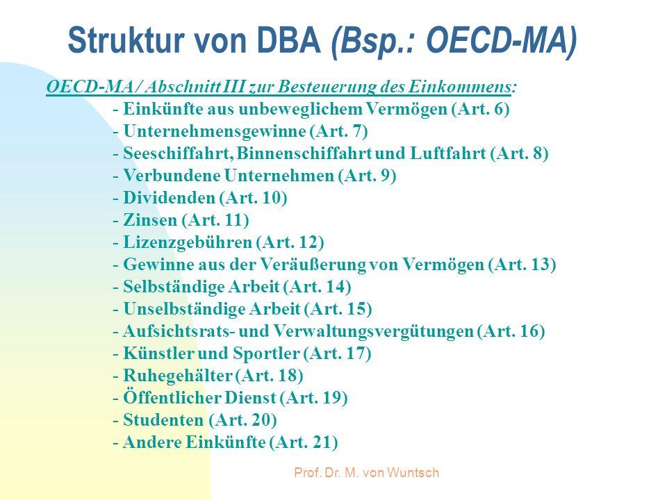 Prof. Dr. M. von Wuntsch Struktur von DBA (Bsp.: OECD-MA) OECD-MA / Abschnitt III zur Besteuerung des Einkommens: - Einkünfte aus unbeweglichem Vermög