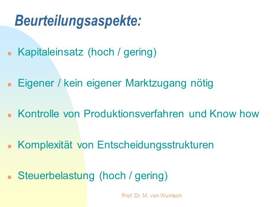 Prof. Dr. M. von Wuntsch Beurteilungsaspekte: n Kapitaleinsatz (hoch / gering) n Eigener / kein eigener Marktzugang nötig n Kontrolle von Produktionsv