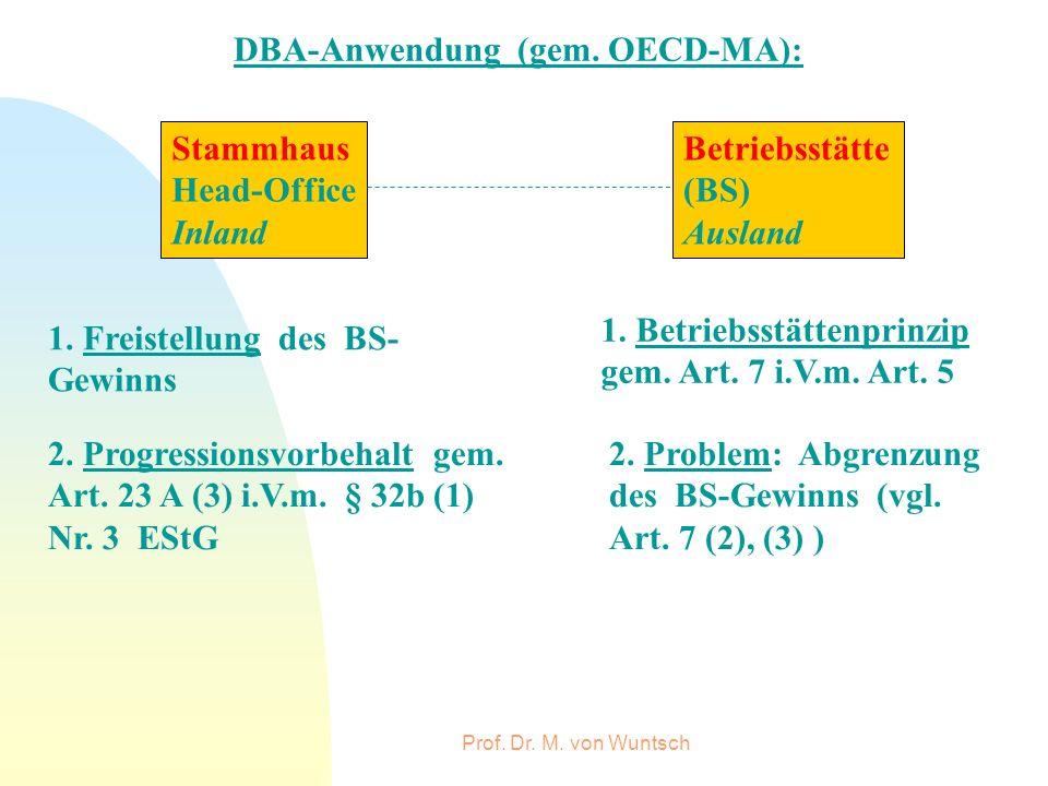 Prof. Dr. M. von Wuntsch DBA-Anwendung (gem. OECD-MA): Stammhaus Head-Office Inland Betriebsstätte (BS) Ausland 1. Freistellung des BS- Gewinns 1. Bet