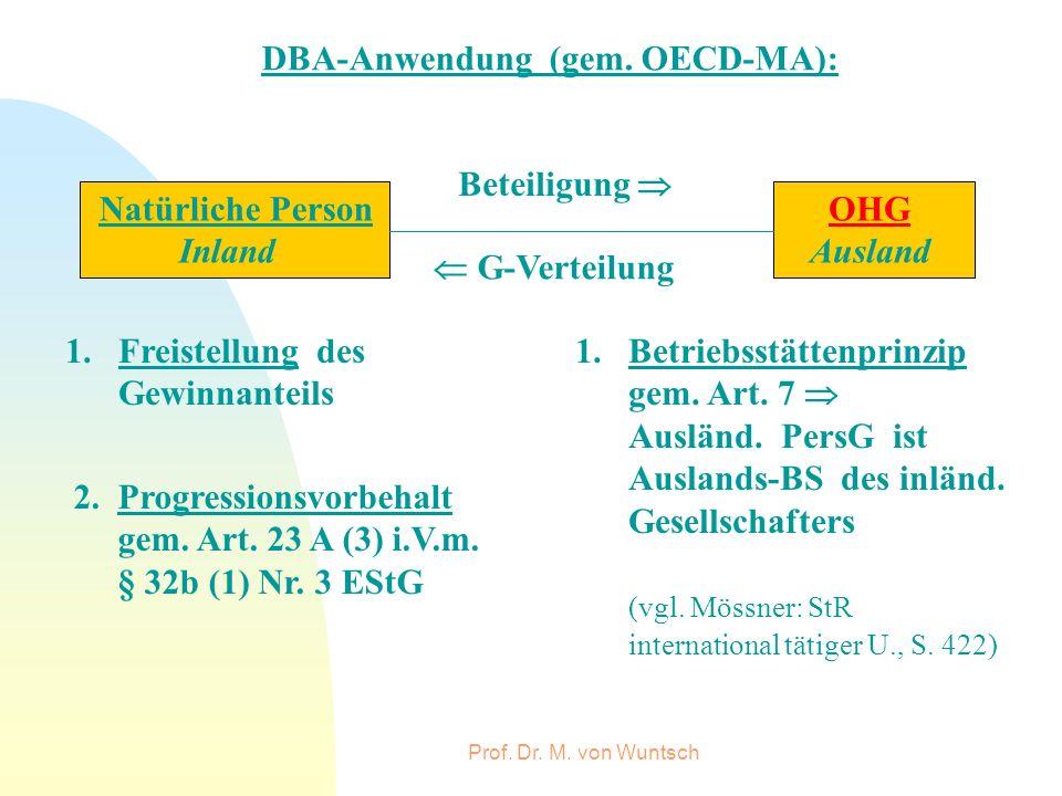 Prof. Dr. M. von Wuntsch DBA-Anwendung (gem. OECD-MA): OHG Ausland Natürliche Person Inland G-Verteilung Beteiligung 1.Freistellung des Gewinnanteils