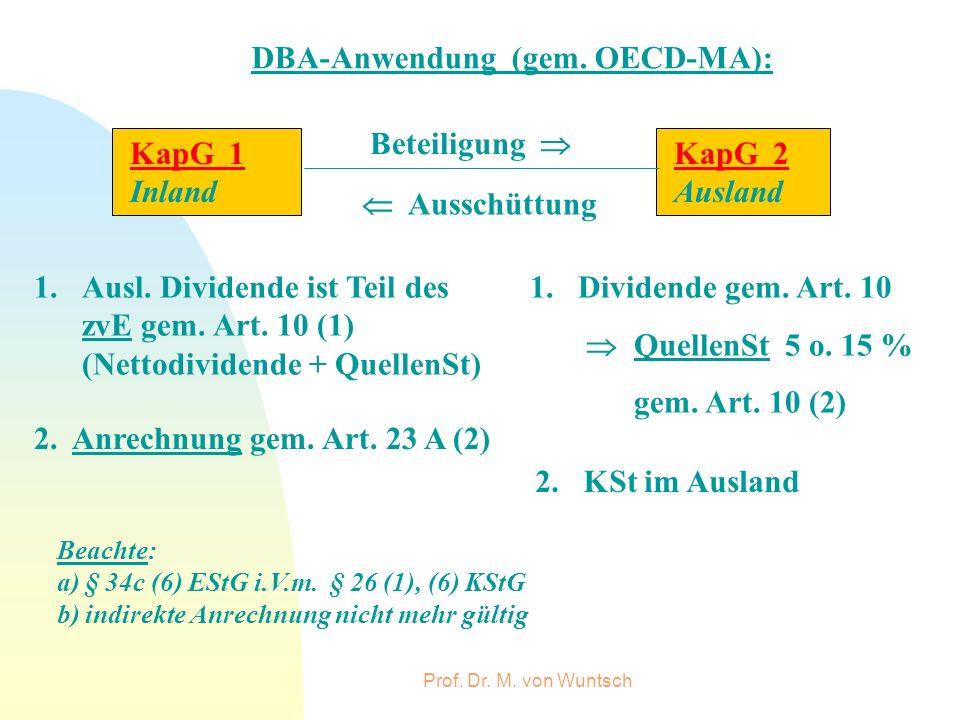 Prof. Dr. M. von Wuntsch DBA-Anwendung (gem. OECD-MA): KapG 1 Inland KapG 2 Ausland Beteiligung Ausschüttung 1.Ausl. Dividende ist Teil des zvE gem. A