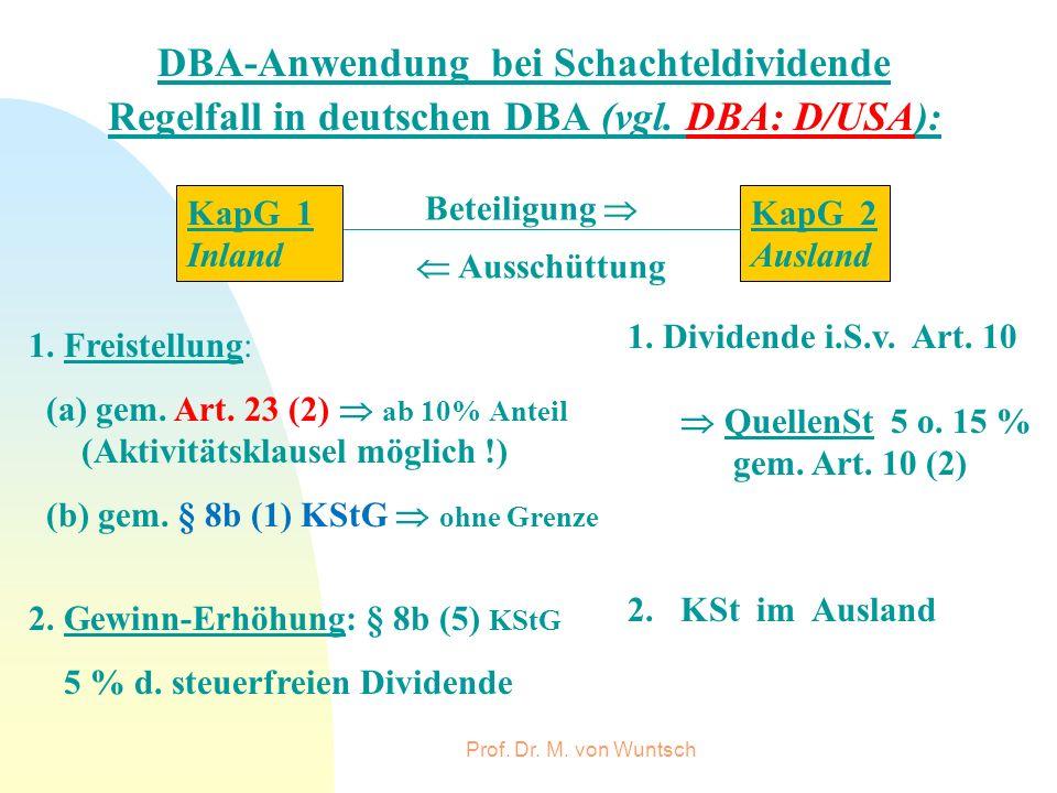 Prof. Dr. M. von Wuntsch DBA-Anwendung bei Schachteldividende Regelfall in deutschen DBA (vgl. DBA: D/USA): KapG 2 Ausland KapG 1 Inland Beteiligung A