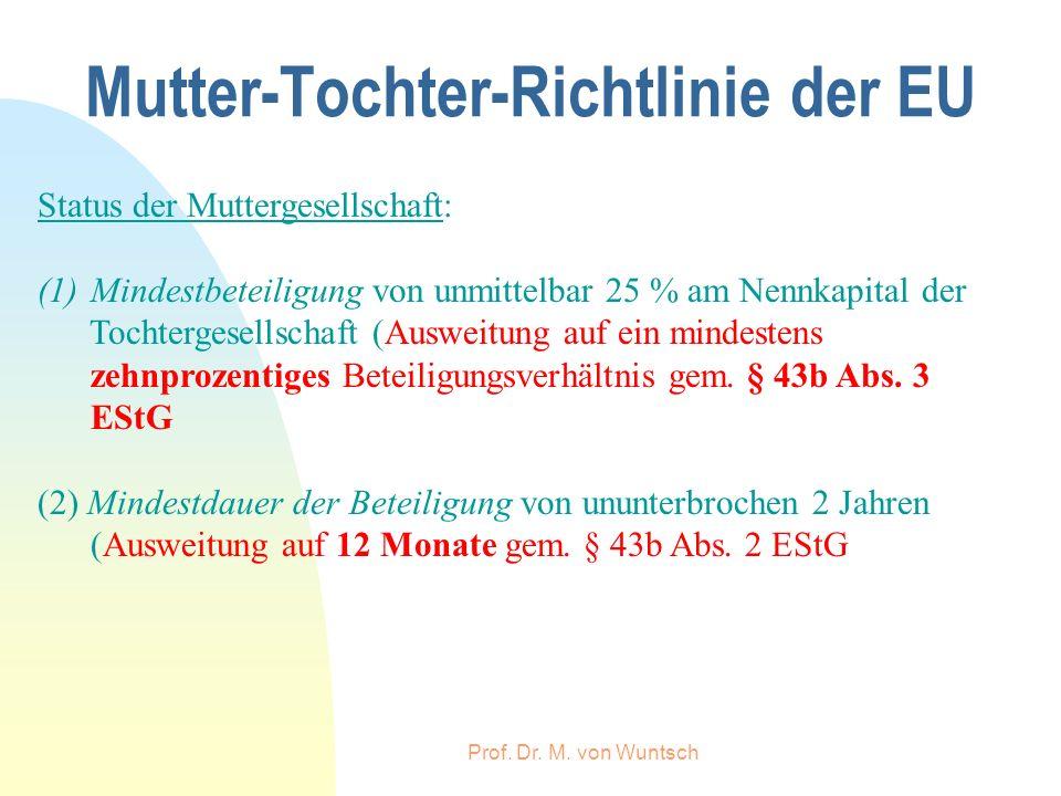 Prof. Dr. M. von Wuntsch Mutter-Tochter-Richtlinie der EU Status der Muttergesellschaft: (1)Mindestbeteiligung von unmittelbar 25 % am Nennkapital der