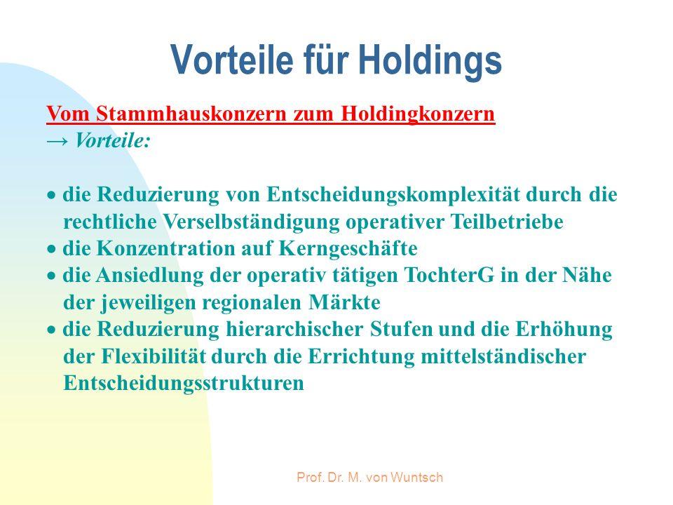Prof. Dr. M. von Wuntsch Vorteile für Holdings Vom Stammhauskonzern zum Holdingkonzern Vorteile: die Reduzierung von Entscheidungskomplexität durch di