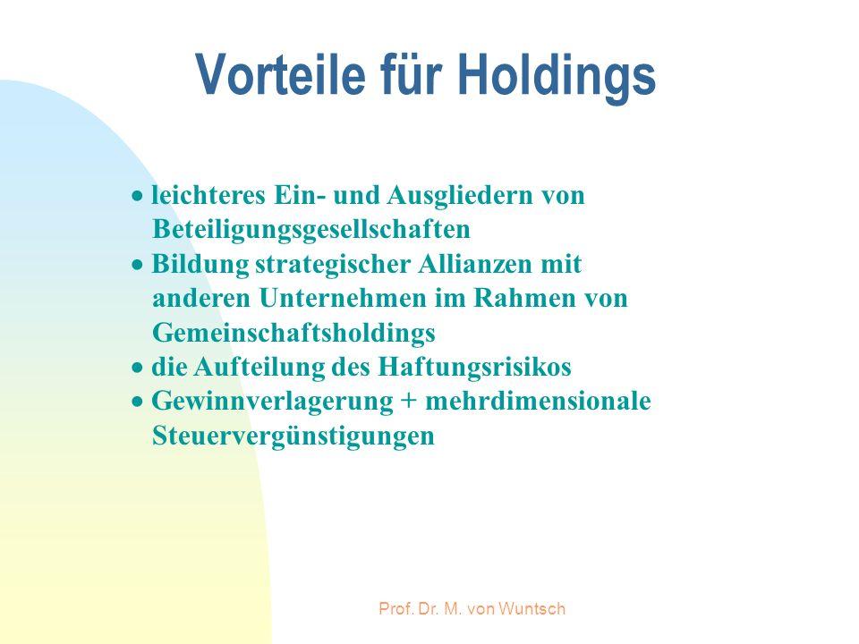 Prof. Dr. M. von Wuntsch Vorteile für Holdings leichteres Ein- und Ausgliedern von Beteiligungsgesellschaften Bildung strategischer Allianzen mit ande