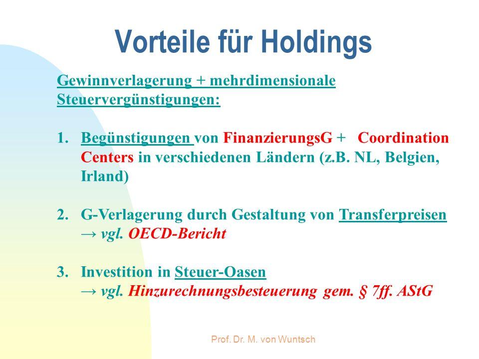 Prof. Dr. M. von Wuntsch Vorteile für Holdings Gewinnverlagerung + mehrdimensionale Steuervergünstigungen: 1.Begünstigungen von FinanzierungsG + Coord
