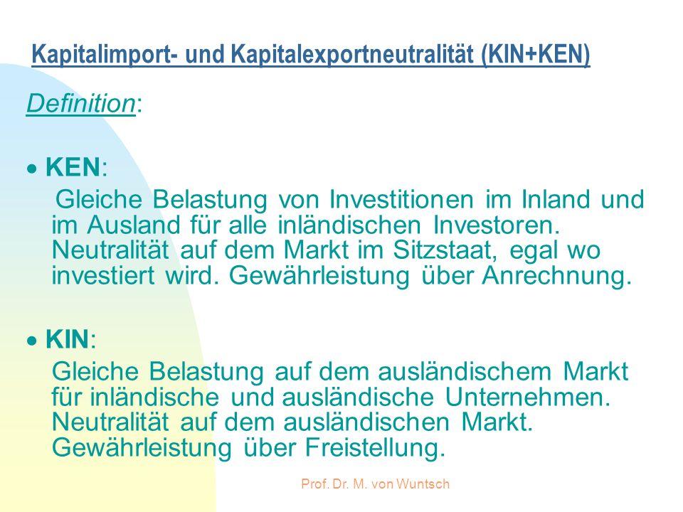 Prof. Dr. M. von Wuntsch Kapitalimport- und Kapitalexportneutralität (KIN+KEN) Definition: KEN: Gleiche Belastung von Investitionen im Inland und im A