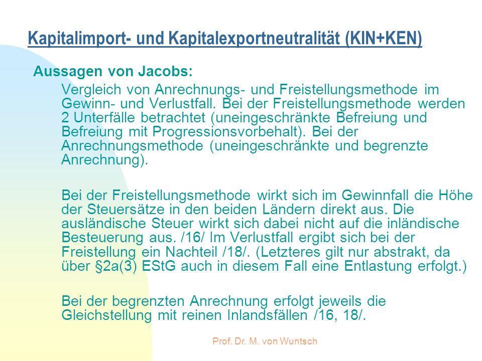 Prof. Dr. M. von Wuntsch Kapitalimport- und Kapitalexportneutralität (KIN+KEN) Aussagen von Jacobs: Vergleich von Anrechnungs- und Freistellungsmethod