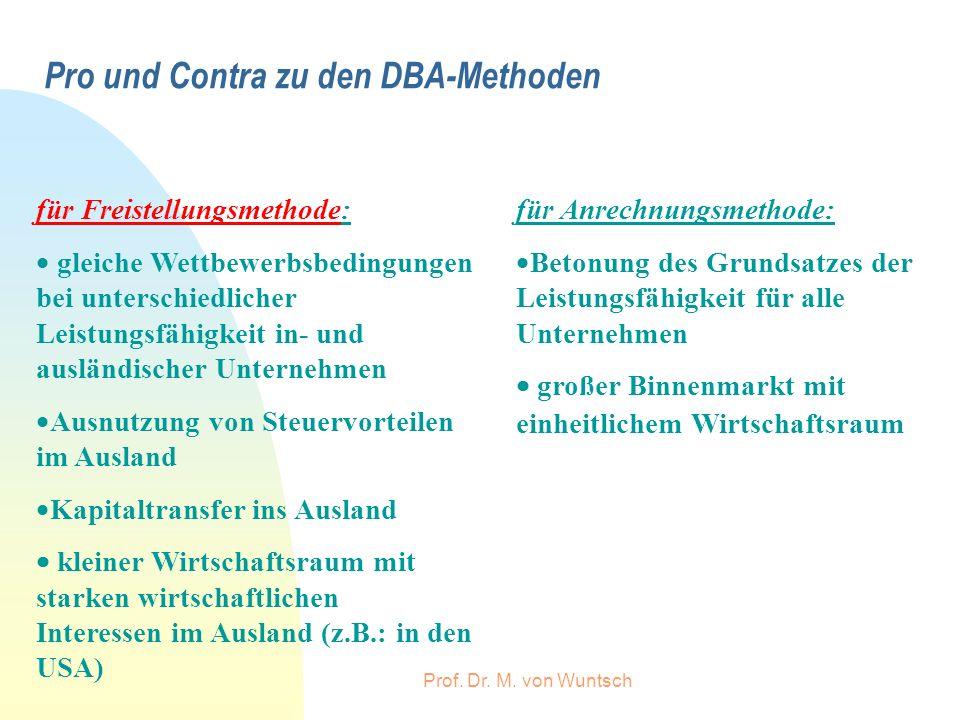 Prof. Dr. M. von Wuntsch Pro und Contra zu den DBA-Methoden für Anrechnungsmethode: Betonung des Grundsatzes der Leistungsfähigkeit für alle Unternehm