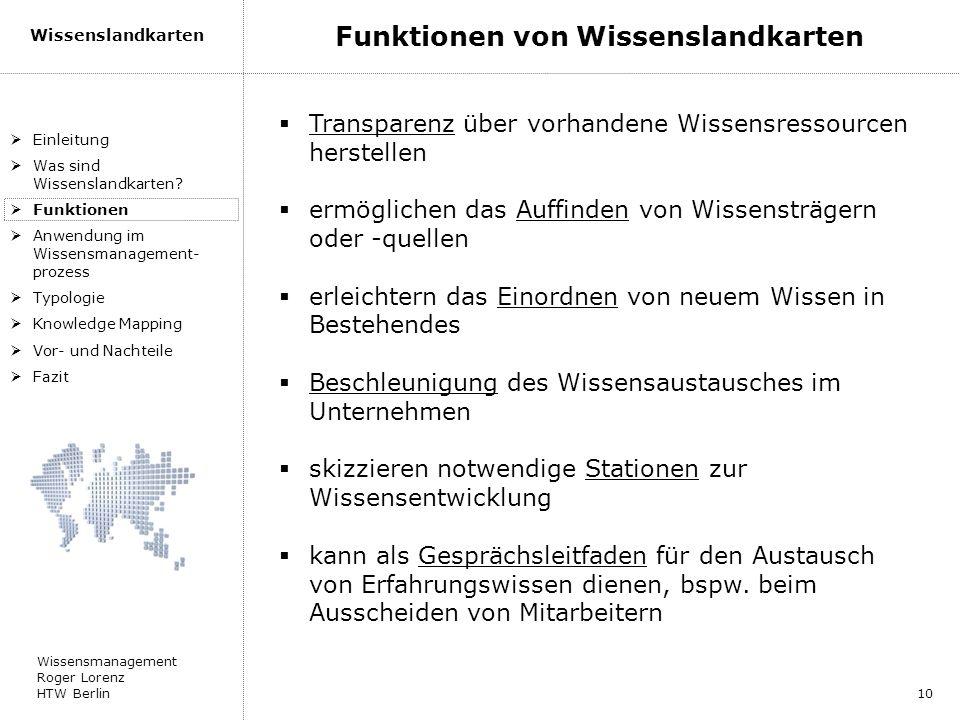 Wissensmanagement Roger Lorenz HTW Berlin Wissenslandkarten 10 Einleitung Was sind Wissenslandkarten? Funktionen Anwendung im Wissensmanagement- proze
