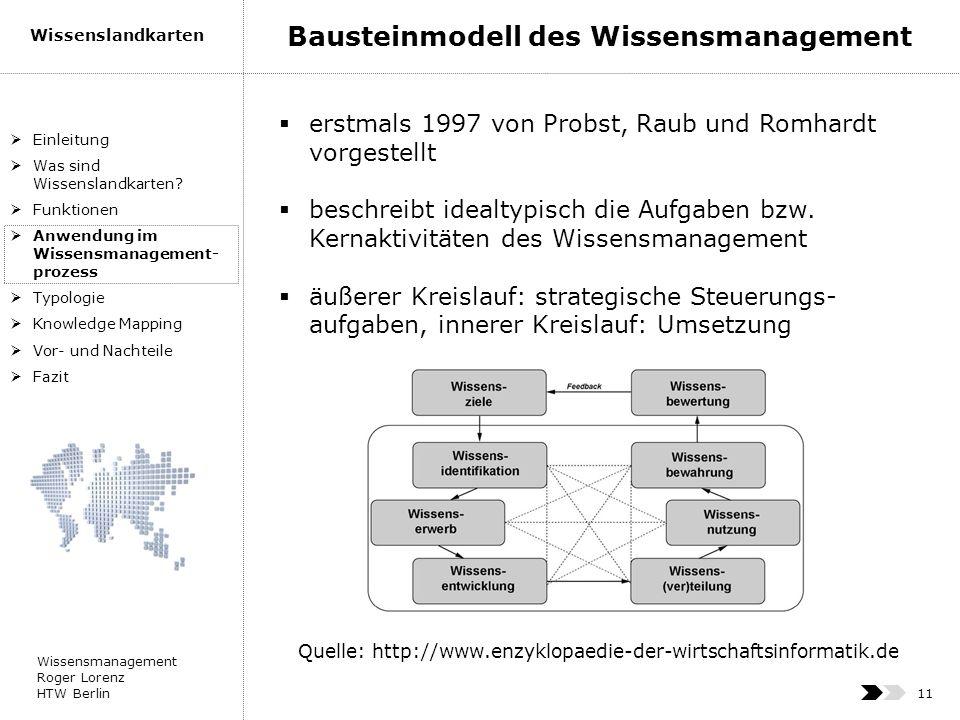 Wissensmanagement Roger Lorenz HTW Berlin Wissenslandkarten 11 erstmals 1997 von Probst, Raub und Romhardt vorgestellt beschreibt idealtypisch die Auf