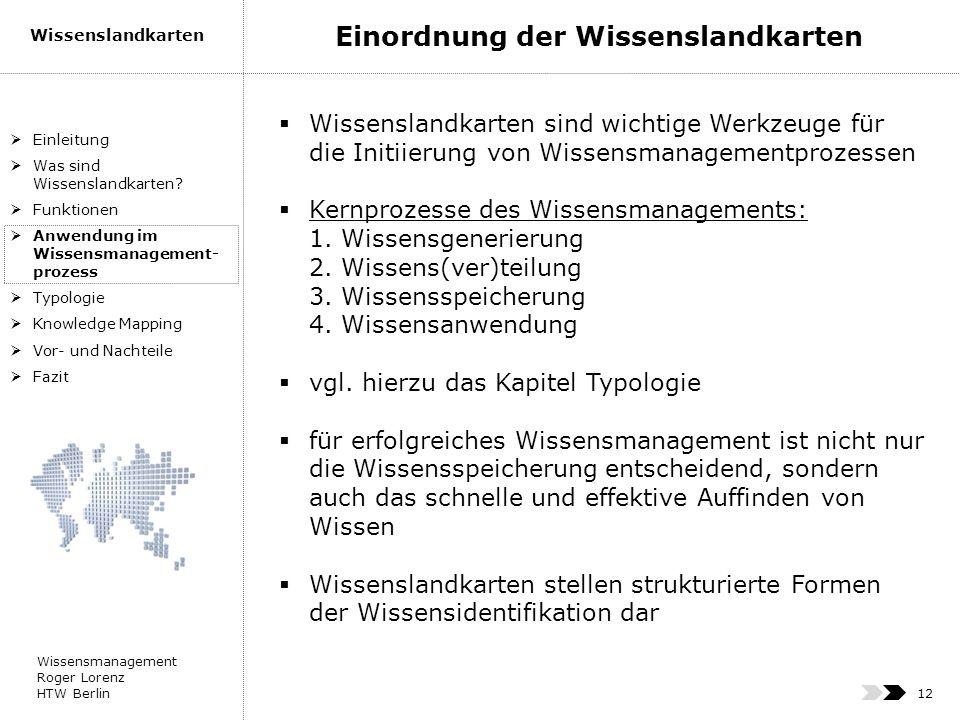 Wissensmanagement Roger Lorenz HTW Berlin Wissenslandkarten 12 Wissenslandkarten sind wichtige Werkzeuge für die Initiierung von Wissensmanagementproz