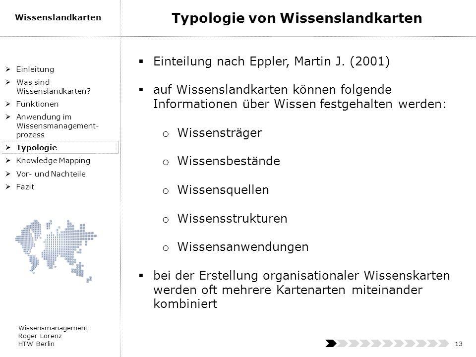 Wissensmanagement Roger Lorenz HTW Berlin Wissenslandkarten 13 Einteilung nach Eppler, Martin J. (2001) auf Wissenslandkarten können folgende Informat